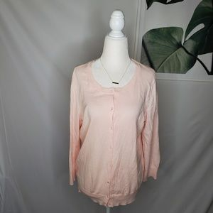 LOFT Bubble Gum Pink Cardigan Crystal Like Buttons